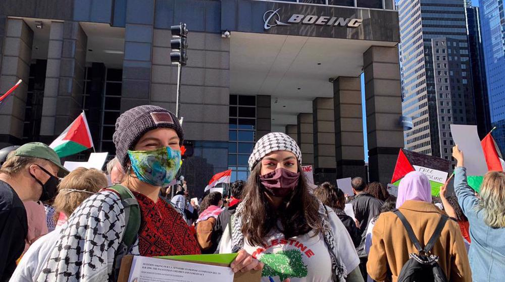 Pro-Palestine activists protest Boeing's planned arms sale to Israel