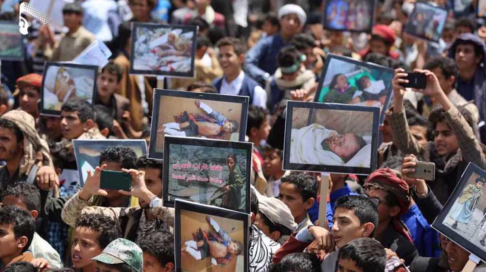 At Sana'a rally, Yemeni children slam UN for 'whitewashing' Saudi crimes against them