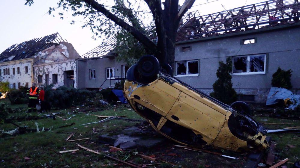 Rare tornado, storms destroy parts of towns in Czech Republic