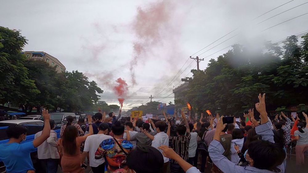Anti-coup protesters stage massive rally in Myanmar's Yangon