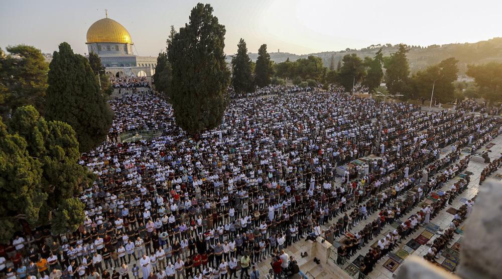 1000s of Palestinians hold Eid al-Adha prayers in Aqsa after Israeli raids