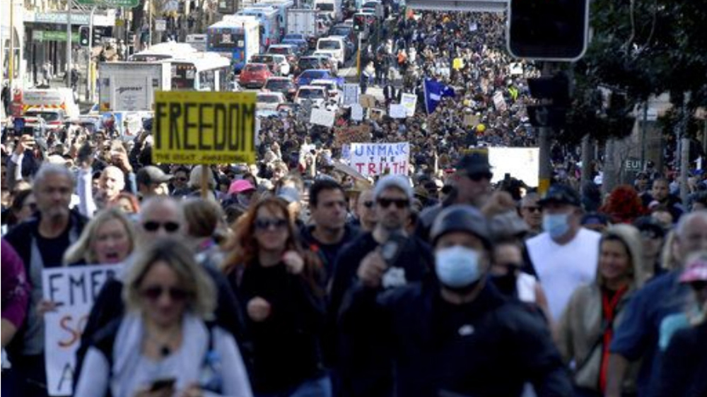 Thousands protest against Sydney lockdown restrictions