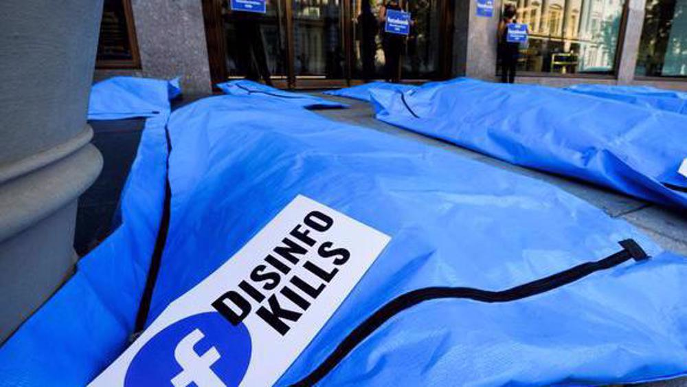 US activists place body bags in front of Facebook office protesting vaccine misinformation
