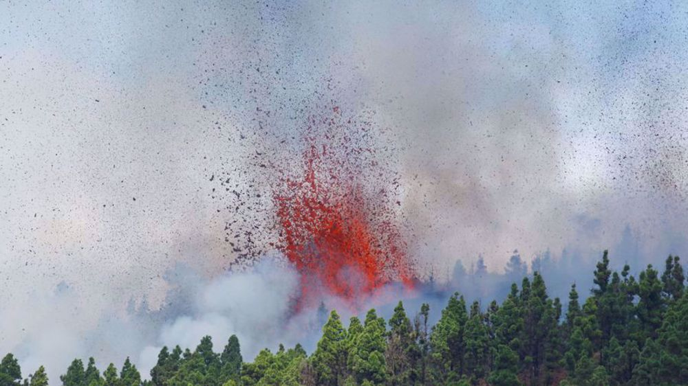 Lava shoots up from volcano on La Palma in Spain's Canary Islands