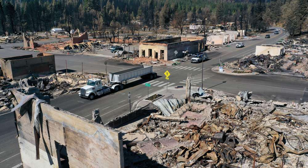 Aerial shots: Greenville, California, incinerated weeks after Dixie Fire