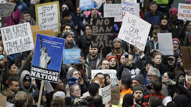 Protests against Trump Muslim ban surge across US