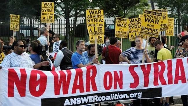 Anti-war groups protest US strikes on Syria