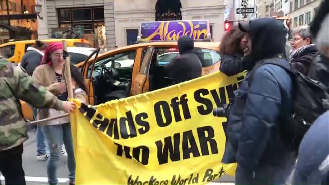 New York citizens protest against US strike on Syria