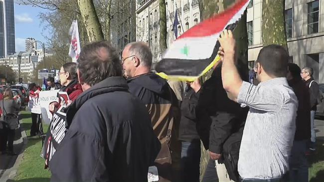Protesters brand West's airstrikes on Syria 'illegal'
