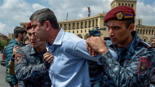 Protesters detained in Armenia as anti-PM rallies continue