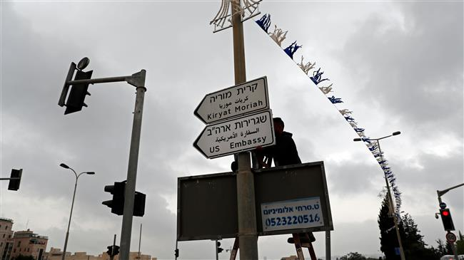 US embassy road signs popping up in al-Quds