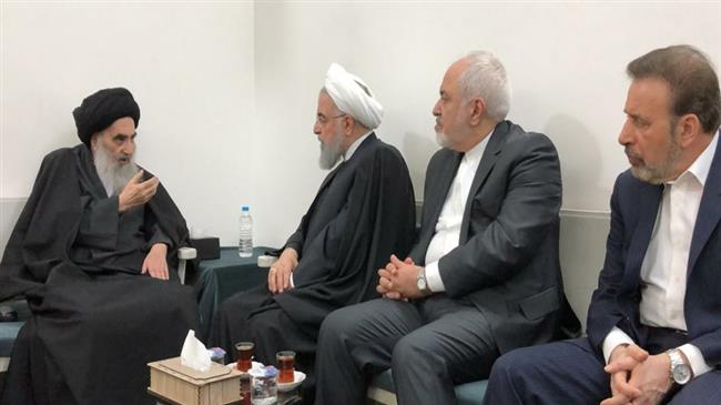 Rouhani meets with Iraq's top Shia cleric Ayat. Sistani