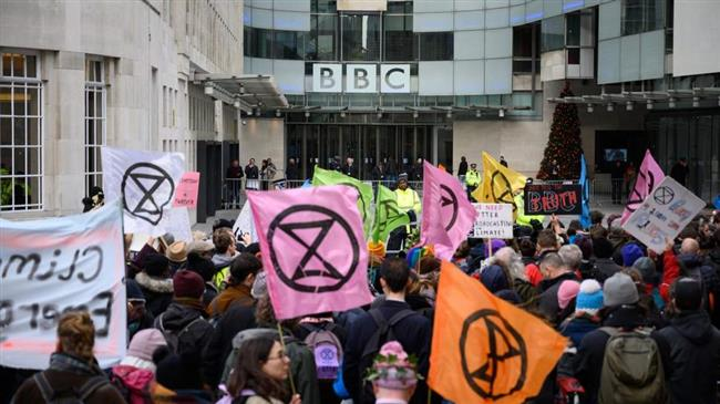 BBC tell the truth, chant London climate-change protesters