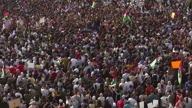 Jordanians protest against Israel over al-Aqsa violence