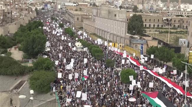 Yemenis rally in capital Sana'a in solidarity with Palestinians