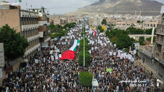 Yemenis rally in solidarity with Palestinians amid Israeli airstrikes